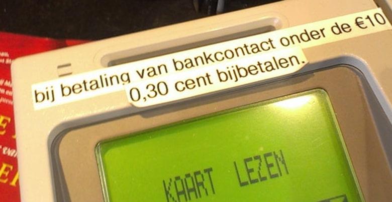 transactiekoste doorrekenen bancontact